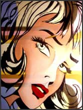 Pop art painting of a woman's face in the style of comic book art.