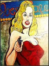 Beautiful Pop Art Blonde Haired Woman. Comic Book Style art in Metro Detroit.