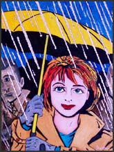 Rain #3 - Pop art painting of a beautiful smiling woman standing in the rain and holding an umbrella.