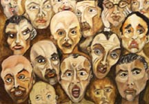 Faces in the Crowd #11 - Oil on Masonite