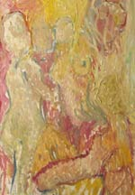 The Looker - Abstract Figurative Models - Painted in warm tones of ochre and gold.