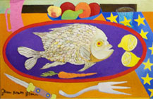 Colorful Fish Dinner Abstract Painting