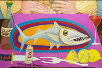 Whimsical Fish and Lemons Painting by James Homer Brown