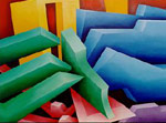 Chrysler Corporation Art: Geometric Abstract Paintings inspired by Detroit Industry